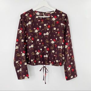 Levi's Floral long sleeve crop top size L NWT